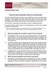NETHERLANDS.SUBJECTGUIDE.MARITIMELIENSFORSEAFARERSWAGES_2013_ENG
