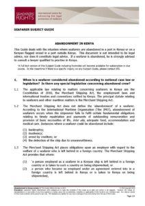 KENYA.SUBJECTGUIDE.ABANDONMENTOFSEAFARERS_2013_ENG