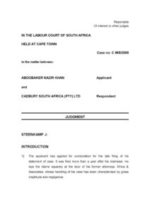 ZAF_CASE-LAW_KHAN-V-CADBURY-SOUTH-AFRICAN-LTD_2010_ENG