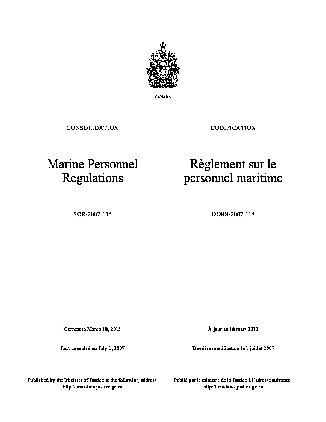 Marine Personnel Regulations (SOR/2007)