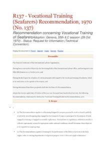INTERNATIONAL_TREATY_ILO-RECOMMENDATION-R137_1970_ENG